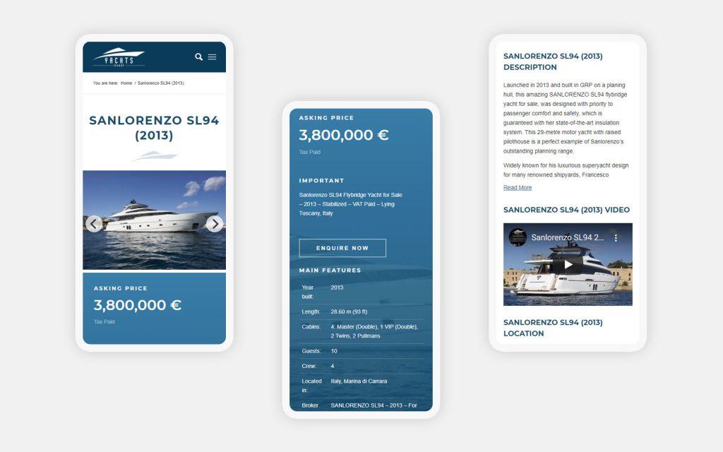 Адаптивный дизайн сайта яхт-брокера