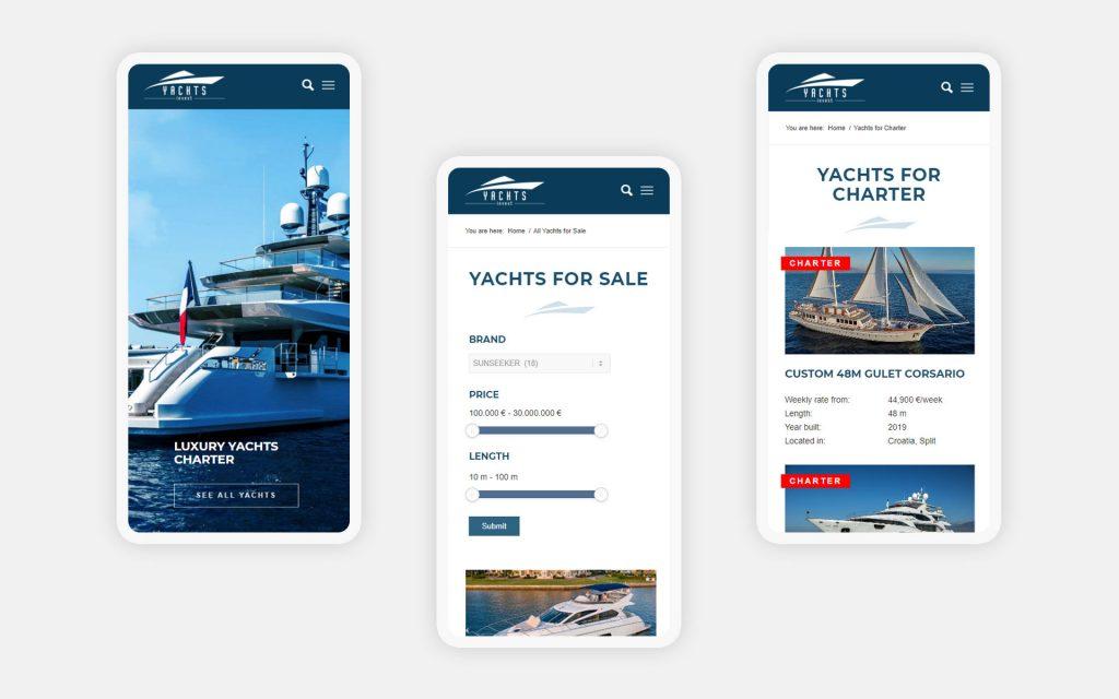 Мобильная версия сайта яхт-брокера